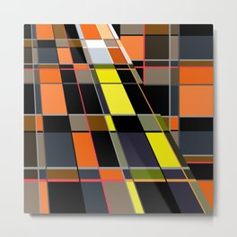 An abstract geometric pattern. Orange , brown ,yellow-cage . Metal Print