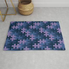 Jigsaw Puzzle Pieces Thunder Storm Pattern Rug