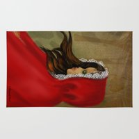 red hood Area & Throw Rugs featuring Red Riding Hood by Alannah Brid