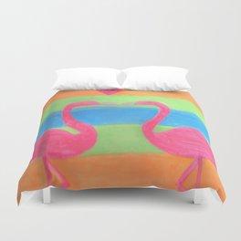 Pink Flamingo Mural Art Duvet Cover