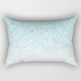Turquoise Glitter and Marble Rectangular Pillow