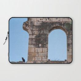 Black Cat on Roman Ruins in Split Croatia Laptop Sleeve