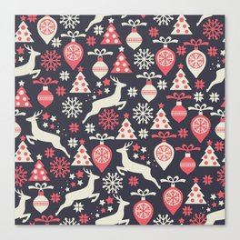 Vintage Retro Christmas Pattern Holiday Canvas Print