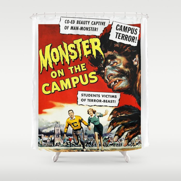 The Monster Of Campus Vintage Horror Movie Poster Shower Curtain