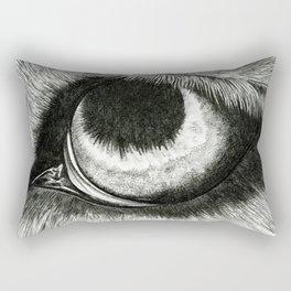 Pencil Drawing - Wolf Eye Rectangular Pillow