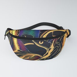 Blue Succulent Colorful Night, Black and Gold Rainbows Fanny Pack