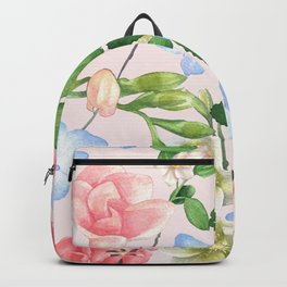Watercolor Floral Collage in Blush Backpack