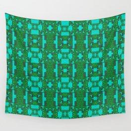 Aqua and Moss Green Geometric Healing Pattern Wall Tapestry