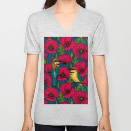 Bee eaters and poppies  Unisex V-Neck