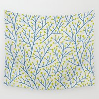 lime Wall Tapestries featuring Berry Branches - Lime & Blue by Cat Coquillette