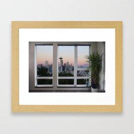 Seattle Skyline Window View Framed Art Print