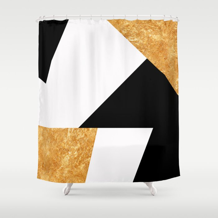 Corners In Black White Gold Shower Curtain