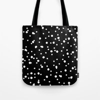polkadot Tote Bags featuring Polkadot Black Pattern by Pan Lis