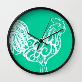 Aqua rooster drawing, drawing in aqua, drawing of a chicken Wall Clock