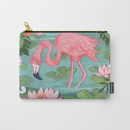 Flamingo and Waterlily Carry-All Pouch