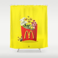 fries Shower Curtains featuring Flour Fries by JRDStudios