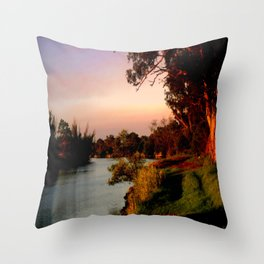 Reflecting sunset on the river Bank Throw Pillow