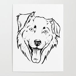 Portrait of a cheerful shaggy dog Poster