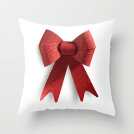 Isolated Big Red Christmas Shiny Bow Throw Pillow