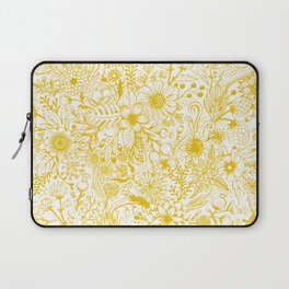 Yellow Floral Doodles Laptop Sleeve