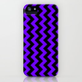 Black and Indigo Violet Vertical Zigzags iPhone Case