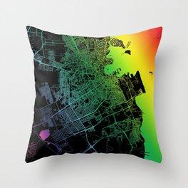 Doha, Qatar, City, Map, Rainbow, Map, Art, Print Throw Pillow