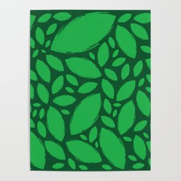 Painted Tree Leaves V2 - Green Poster