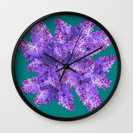 Purple Lilac Bouquet on Teal Color Wall Clock