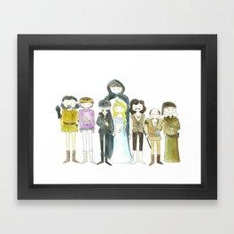 Princess Bride Cast Cartoon Framed Art Print
