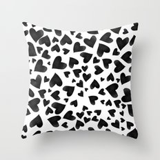 Modern black watercolor love hearts simple pattern Throw Pillow