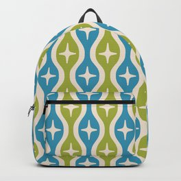 Mid century Modern Bulbous Star Pattern Chartreuse and Cerulean Backpack