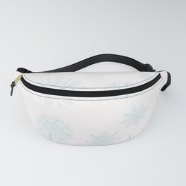 Assorted Light Blue Snowflakes On White Background Fanny Pack