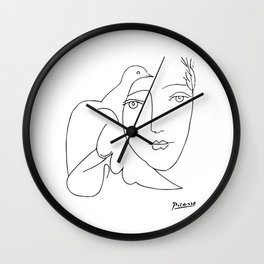 Pablo Picasso Peace (Dove and Face) T Shirt, Sketch Artwork Wall Clock