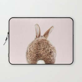 Brown Baby Rabbit Tail With Pink Background, Baby Animals Art Print By Synplus Laptop Sleeve