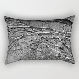 Bare winter tree with snow-laden boughs Rectangular Pillow