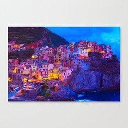 Manarola Cinque Terre Italy at Night Canvas Print