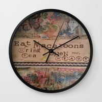 macaroons Wall Clocks featuring Macaroons by drskippyart