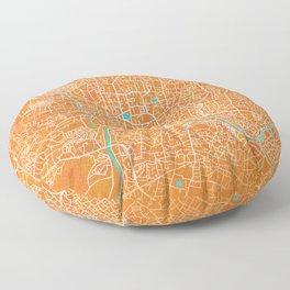 Kathmandu, Nepal, Gold, Blue, City, Map Floor Pillow
