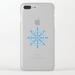 AFE Ship Wheel Light Blue, Nautical Art Print Clear iPhone Case