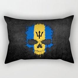 Flag of Barbados on a Chaotic Splatter Skull Rectangular Pillow