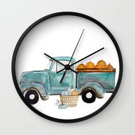 Fall vintage truck Wall Clock