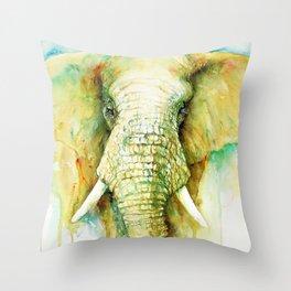 Stalwart Elephant Portrait Throw Pillow