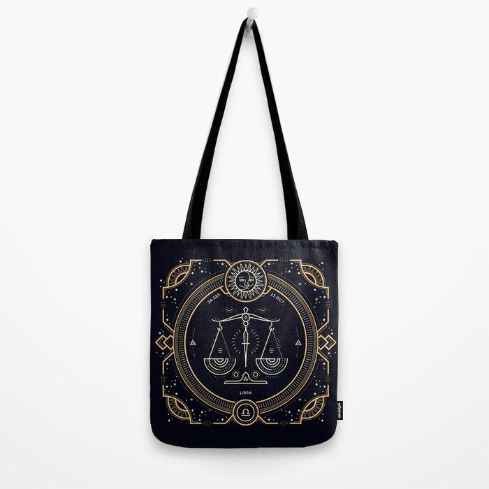 Libra Zodiac Golden White on Black Background Tote Bag
