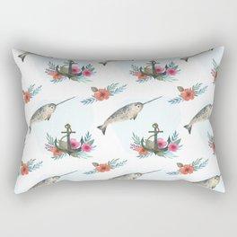 Summertime Nautical Narwhal Rectangular Pillow