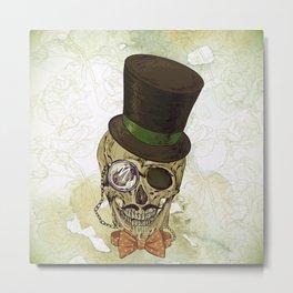 Top Hat and Skulls. Metal Print