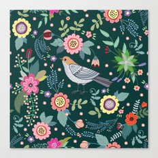 Pattern with beautiful bird in flowers Canvas Print