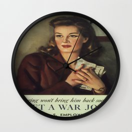 Vintage poster - Get a War Job! Wall Clock