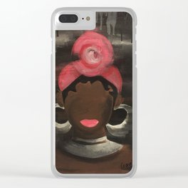 Pink Head Wrap Sista Clear iPhone Case