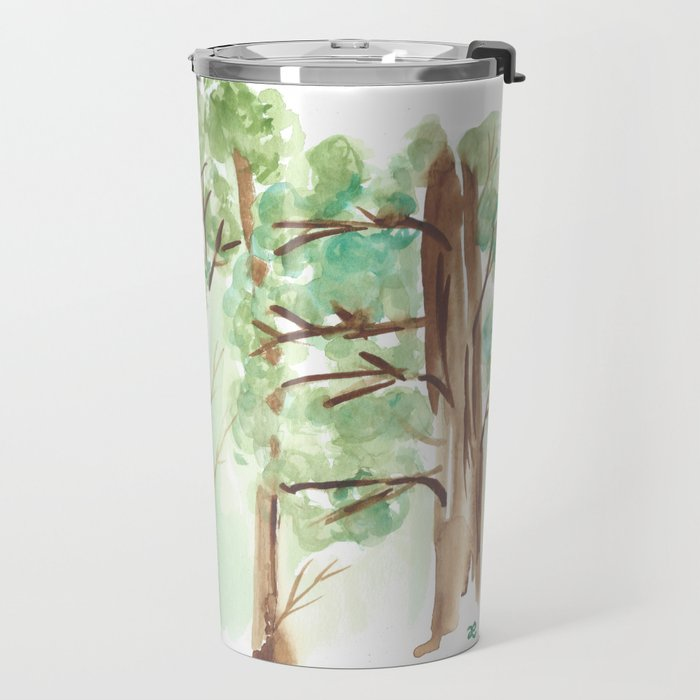 watercolor forest // aspen and other trees in spring Travel Mug