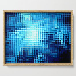 Nebula Pixels Blue Serving Tray